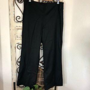 Talbots black wool blend career side zip pants
